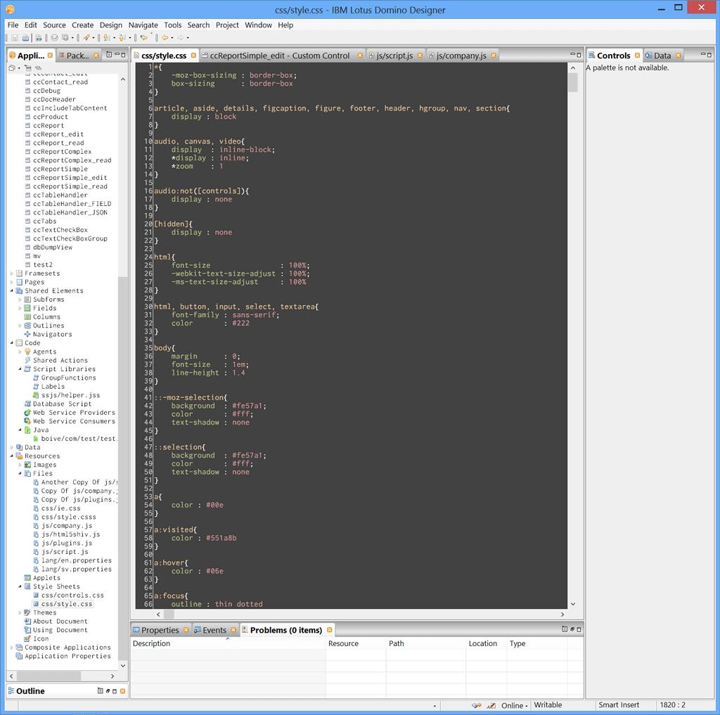 The CSS editor in Domino Designer
