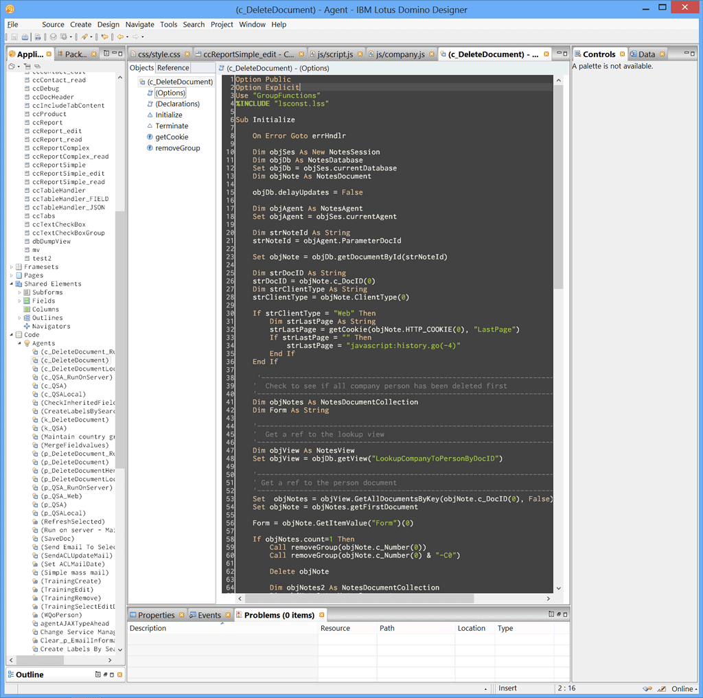 The LotusScript editor in Domino Designer